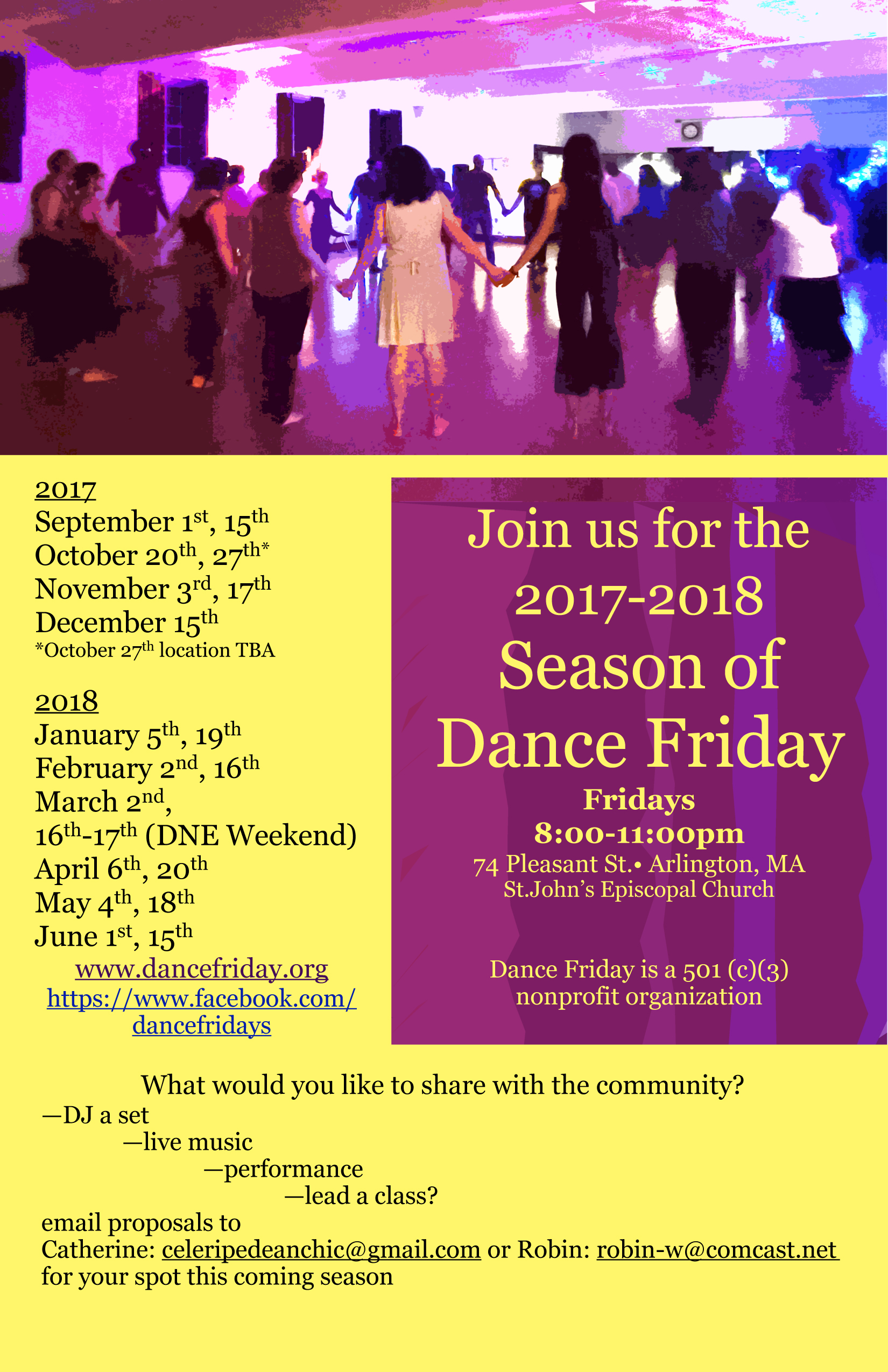 No dance this week—see schedule below and join us for our next event.